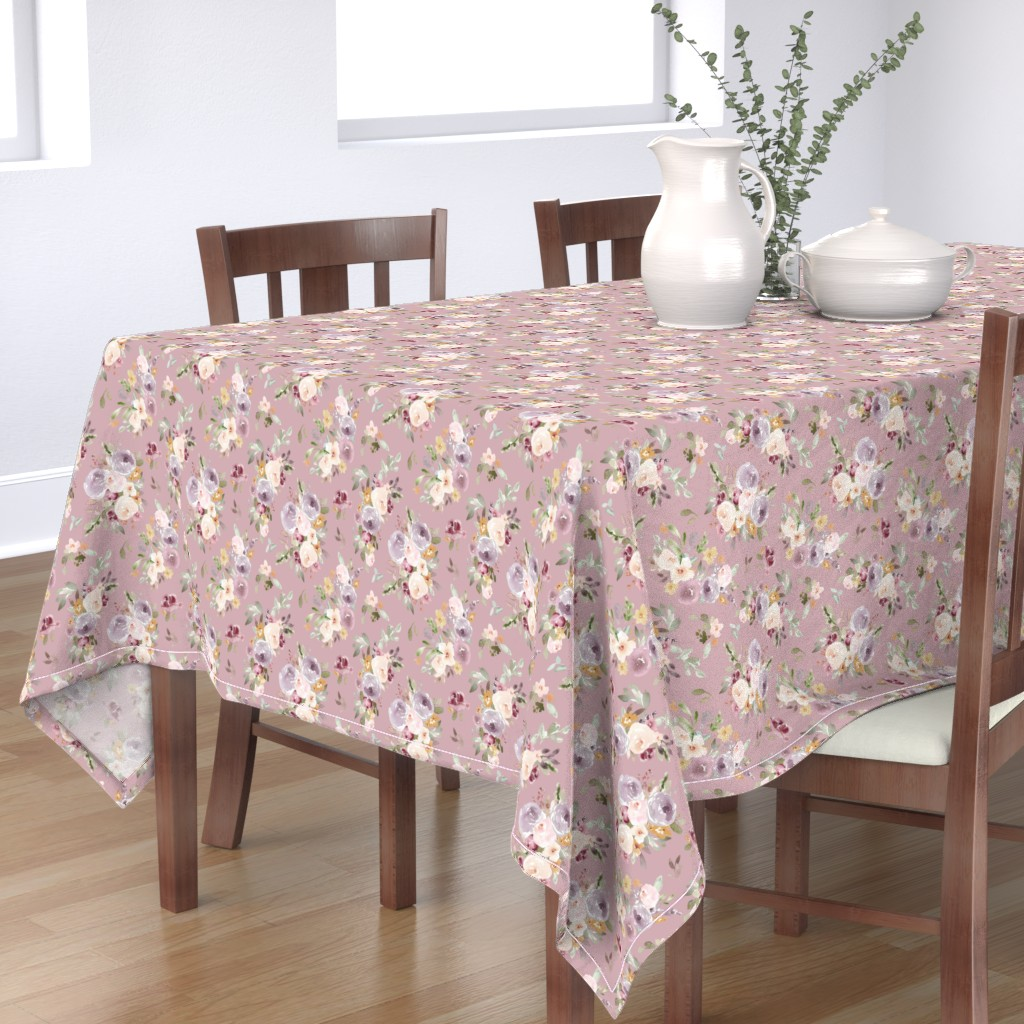 Bantam Rectangular Tablecloth featuring Lightgarden on Purple by angiemakes