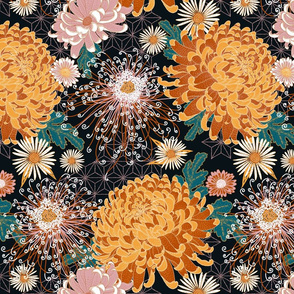 Japanese Chrysanthemums (black)