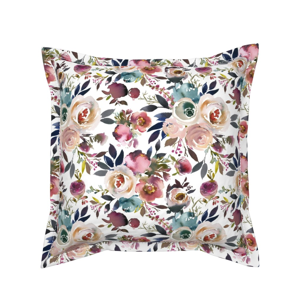 Serama Throw Pillow featuring Misty Autumn Rose by corasofia
