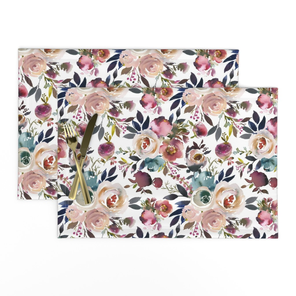 Lamona Cloth Placemats featuring Misty Autumn Rose by g+c