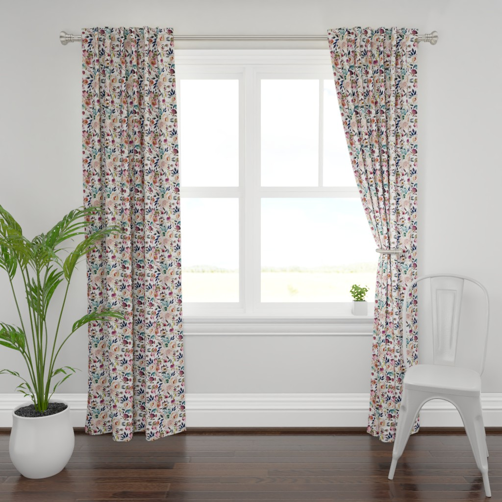 Plymouth Curtain Panel featuring Misty Autumn Rose by g+c