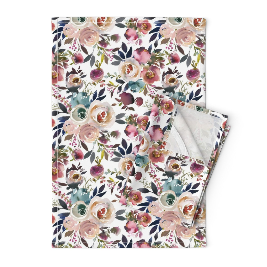 Orpington Tea Towels featuring Misty Autumn Rose by g+c