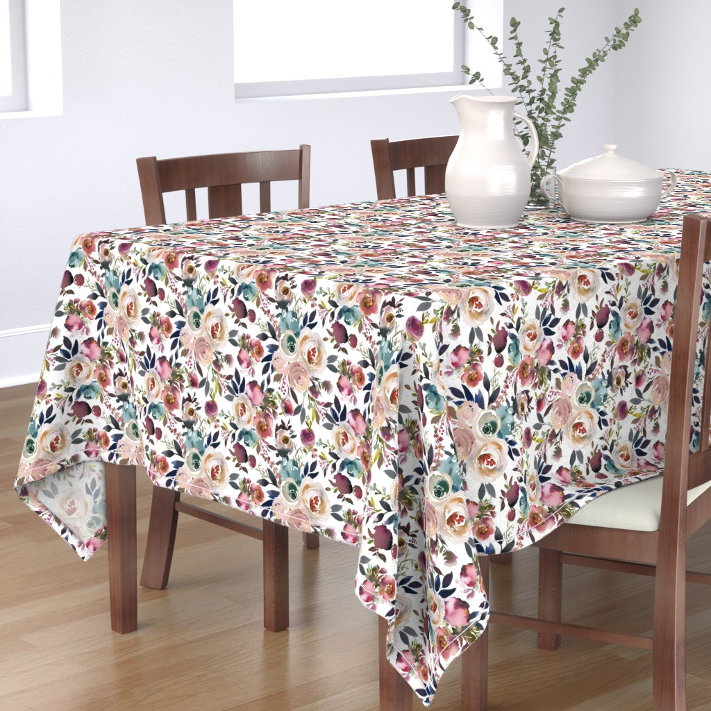 Bantam Rectangular Tablecloth featuring Misty Autumn Rose by g+c
