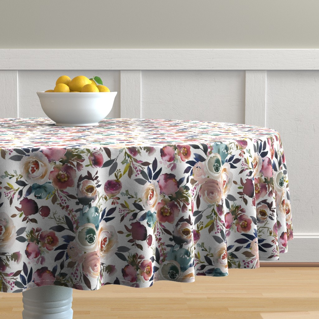 Malay Round Tablecloth featuring Misty Autumn Rose by corasofia