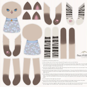 Two kittens cut and sew for minkie fabric
