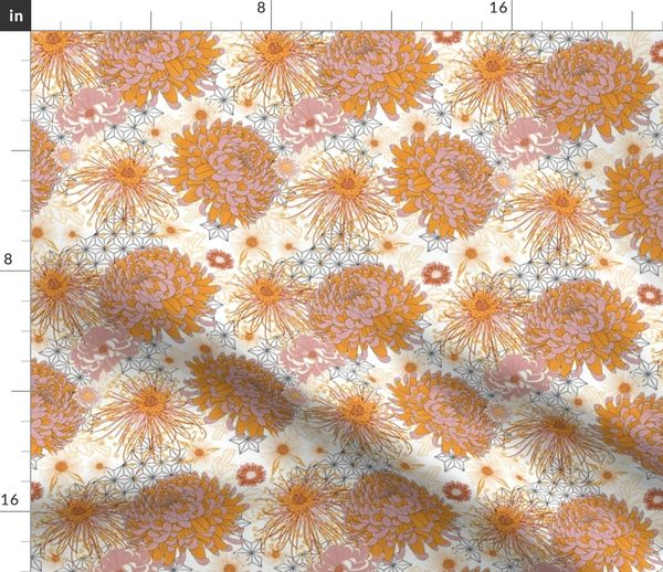 Fabric by the Yard Japanese Chrysanthemums (white) V3 october limited color  palette
