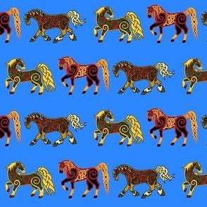 Celtic Horse Trio on blue