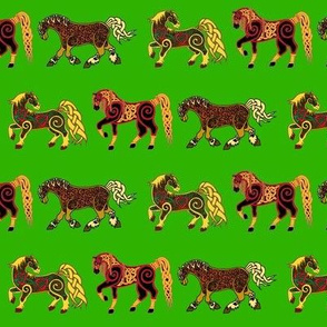 Celtic Horse Trio on Green