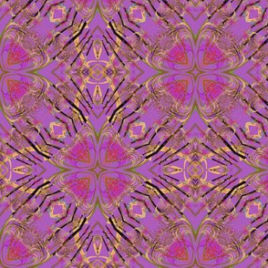 Fractal Kaleidoscope in Red-Purple and Gold