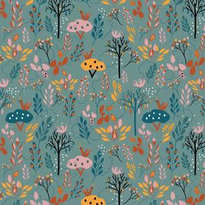 Green floral folk pattern
