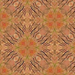 Fractal Kaleidoscope in Tan and Black