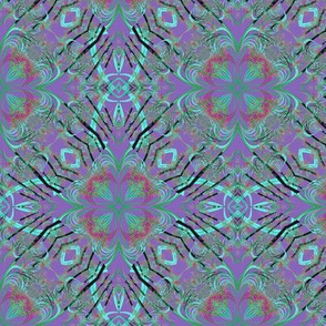 Fractal Kaleidoscope in Blue-Purple and Turquoise