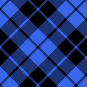 "cobalt blue and black diagonal tartan, 7"" square repeat"