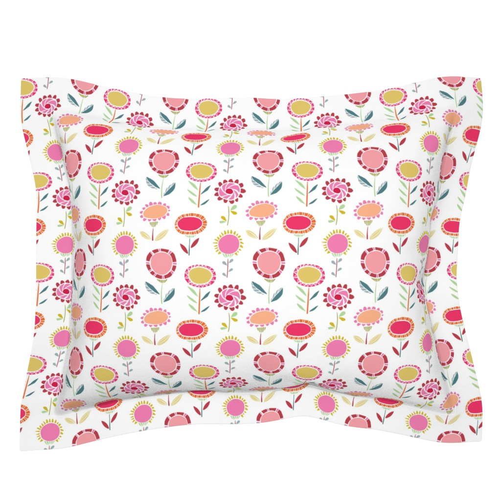 Sebright Pillow Sham featuring Mod flowers by happychinchilla
