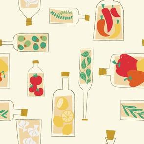 Decorative olive oil bottles
