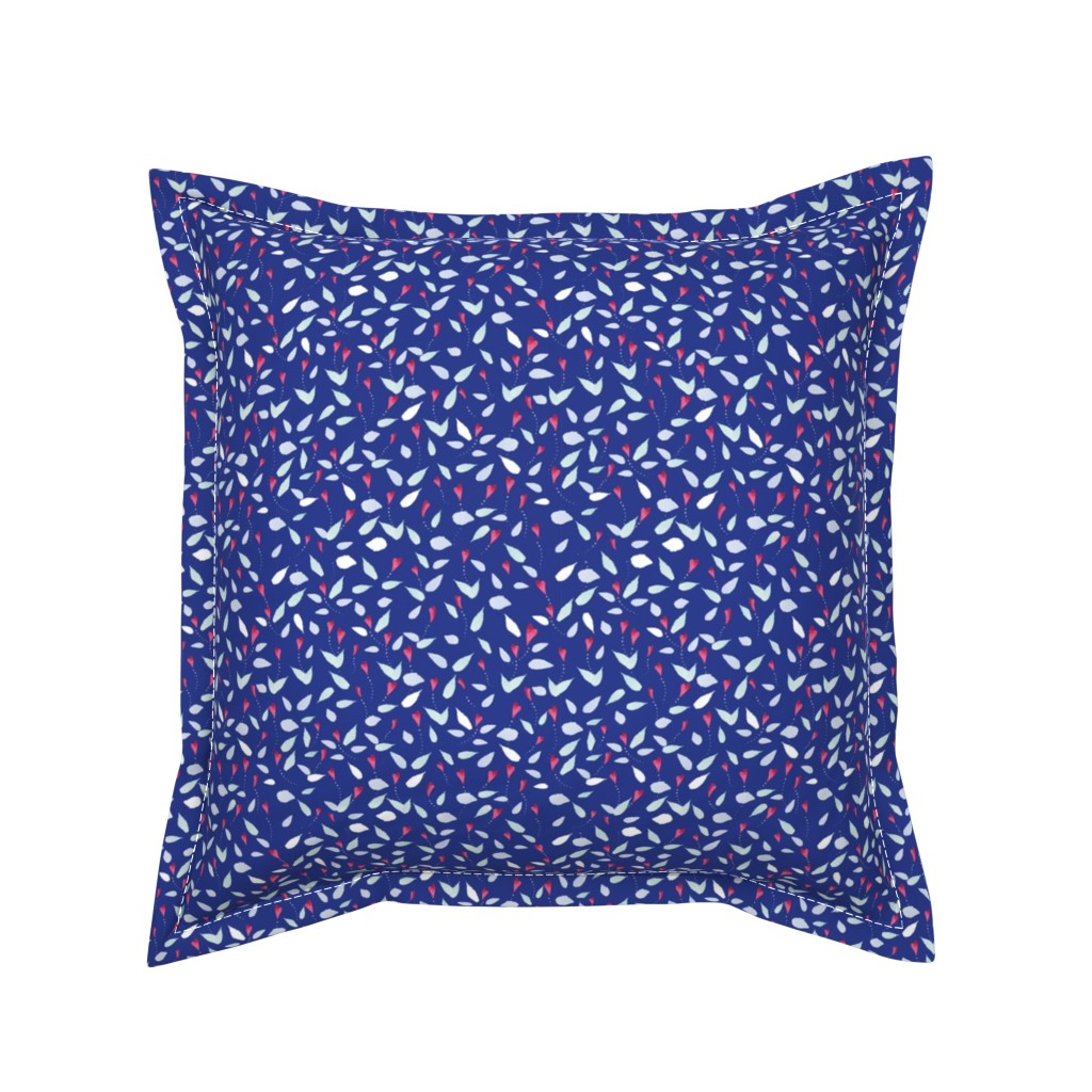 Serama Throw Pillow featuring Blue Flowing Watercolor Flowers by colettegorgas