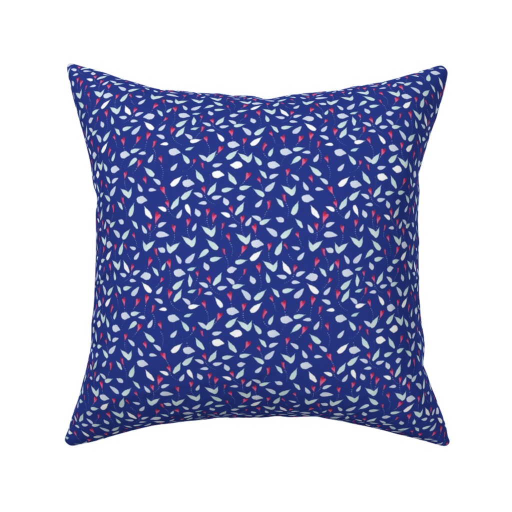 Catalan Throw Pillow featuring Blue Flowing  Flowers by colettegorgas