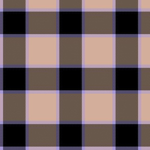 "medieval piper tartan - 3"" peach, black and lavender"