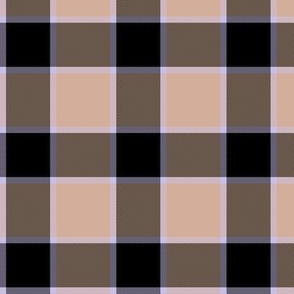 "medieval piper tartan - 3"" peach, black and mauve"