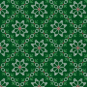 Fair Isle -- White Green Red on Green