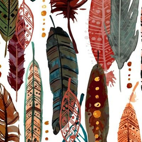 Feathers on white - large