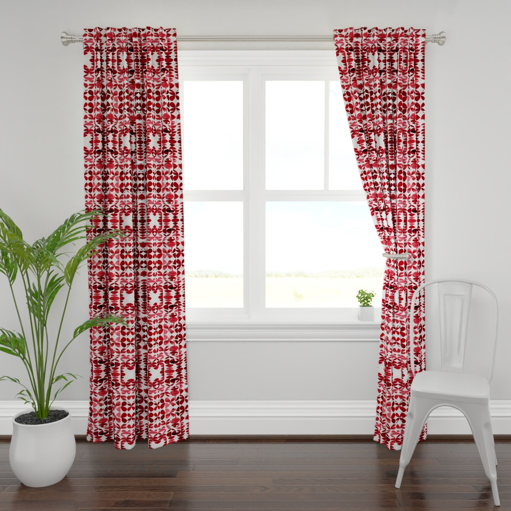 Plymouth Curtain Panel featuring Modern Blues Burgundy by mirimo_design