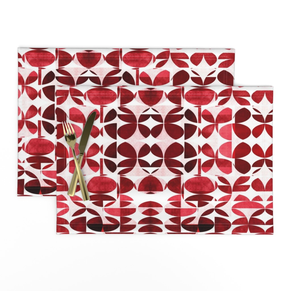Lamona Cloth Placemats featuring Modern Blues Burgundy by mirimo_design