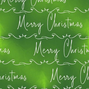 Merry Christmas Script on Ombre Green