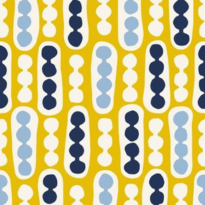 Pebbles and Pods in yellow, eggshell blue and denim