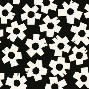 Square Flowers, black, cream