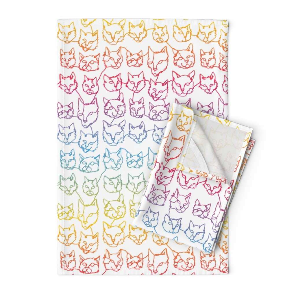Orpington Tea Towels featuring Contour Cats - Rainbow by autumn_musick