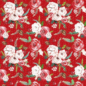 IBD Christmas Florals RED 4x4