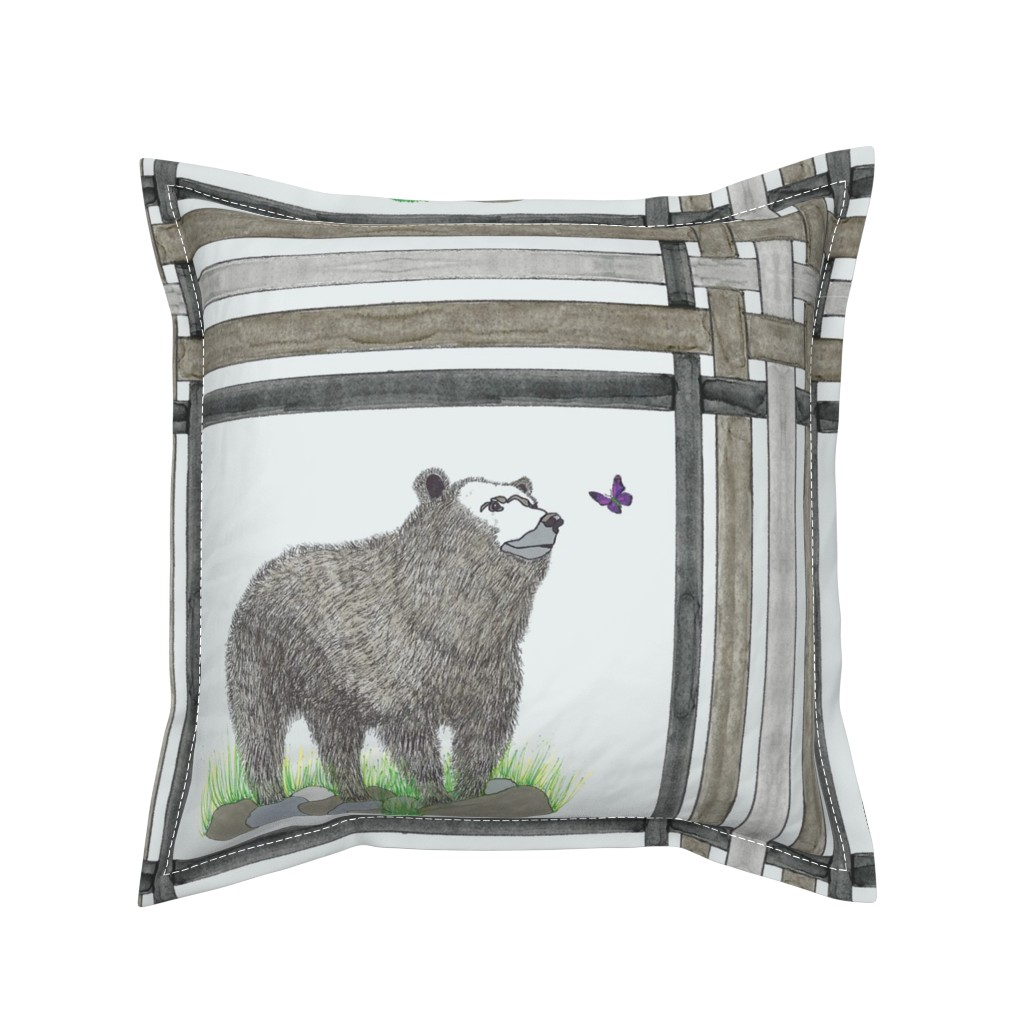 Serama Throw Pillow featuring Bears & Butterflies on Plaid by debra_may_himes,_asid