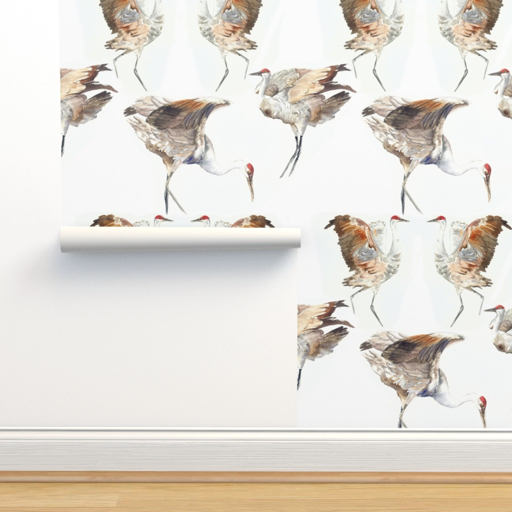 Isobar Durable Wallpaper featuring Courting Cranes by vickylilla