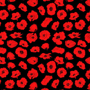Tiling Red Poppies - Dark version