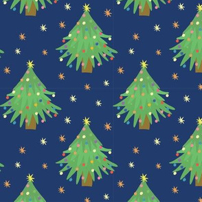 Decorated Christmas Trees_navy