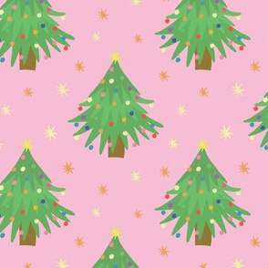 Decorated Christmas Trees_pink