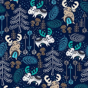 Moose Wonder Woodland in Blue