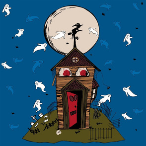 HauntedHouse, ghosts, blue, green, moon