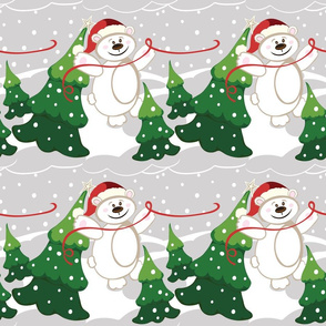 Christmas Santa Bears in gray, green, white and red