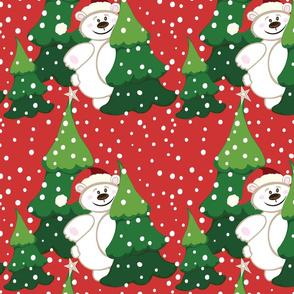 Christmas Santa Bear, red, white and green