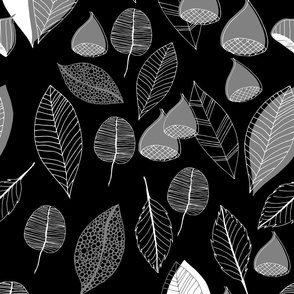 Abstract Autumn Fruit Leaves Black And White