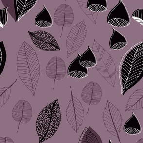 Abstract Leaves And Chestnuts Purple Pink Black