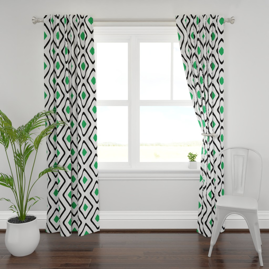 Plymouth Curtain Panel featuring Diamond in Diamond - Jumbo - Green, White, Black by fernlesliestudio