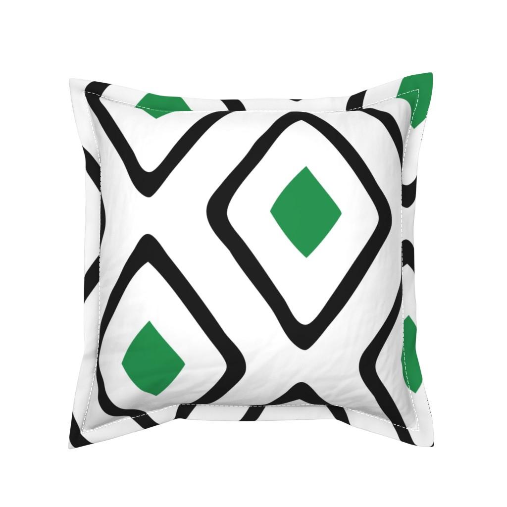 Serama Throw Pillow featuring Diamond in Diamond - Jumbo - Green, White, Black by fernlesliestudio