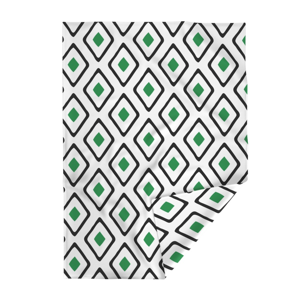 Lakenvelder Throw Blanket featuring Diamond in Diamond - Jumbo - Green, White, Black by fernlesliestudio