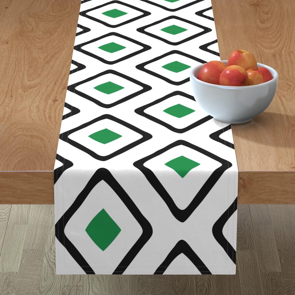 Minorca Table Runner featuring Diamond in Diamond - Jumbo - Green, White, Black by fernlesliestudio