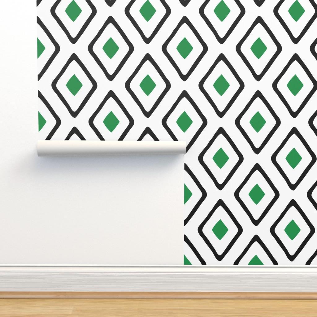 Isobar Durable Wallpaper featuring Diamond in Diamond - Jumbo - Green, White, Black by fernlesliestudio