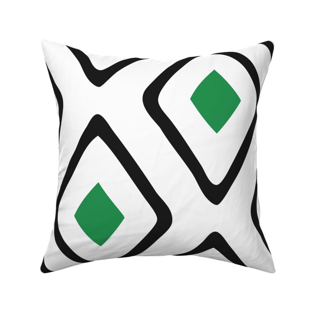 Catalan Throw Pillow featuring Diamond in Diamond - Jumbo - Green, White, Black by fernlesliestudio