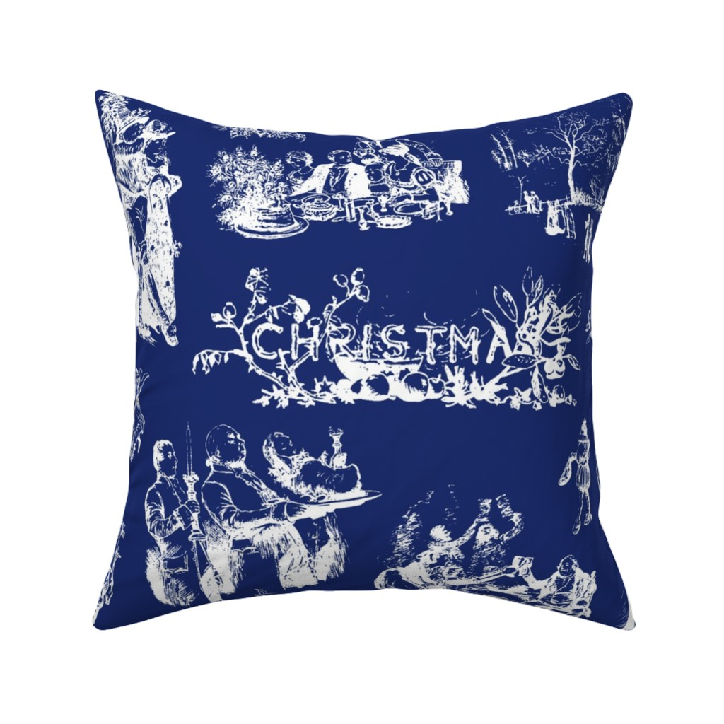 Catalan Throw Pillow featuring Good Cheer Christmas Toile ink 2 by lilyoake